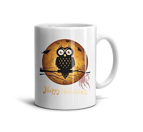 Shirtjkdsaa Happy Halloween Owl Funny Coffee Mug Fashion White Ceramic Daily Use Reusable Large Coffee Mugs