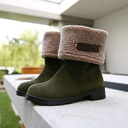 HOESCZS Frauen Schuhe Winter Plus Baumwolle Schneeschuhe Flache Martin Stiefel Weibliche Studenten Kurze Stiefel Mit Warm Frauen Stiefel Dicke Unterseite