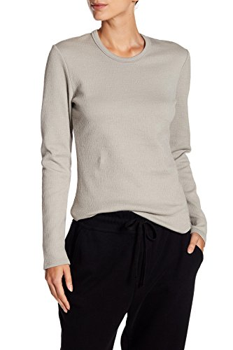 James Perse Hatched Jersey Crew Neck Shirt For Women In Shadow, 0 ()
