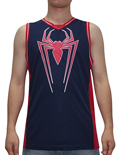 MARVEL COMICS SPIDERMAN Mens Summer Dri-Fit Sleeveless Shirt / Vest Top L Dark Blue