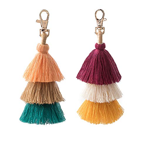 2 Pieces Colorful Bohemian Tassel Keychain Charm Bag Handbag Purse Pendant Car Accessories(17)