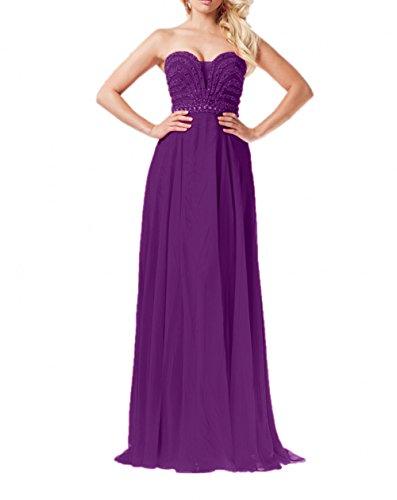La Ballkleider Braut Abschlussballkleider Partykleider Traegerlos Hochwertig mia Festlichkleider Lang Violett Abendkleider Pailletten rxrwaqpHR