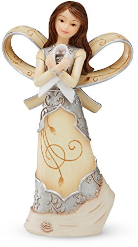 Lung Cancer Awareness - Elements Pearl Ribbon of Hope Angel (Lung Cancer) by Pavilion, 5-Inches Tall