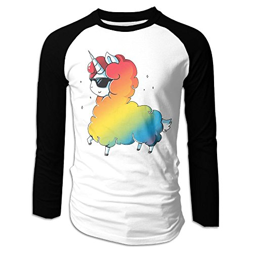 Men's Cool Mr. Unicorn Tri-Blend Long Sleeve T-Shirt Raglan Size L Color (Mr Chow Costume)