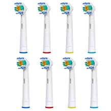 8 pcs (2x4) E-Cron® Toothbrush heads, Replacement for Oral B 3D White (EB18-4). Fully Compatible With The Following Oral B Electric ToothBrush Models: Vitality Precision Clean, Vitality Floss Action, Vitality Sensitive, Vitality Pro White, Vitality Dual Clean, Vitality White and Clean, Professional Care, Triumph, Advance Power, TriZone, Smart Series.