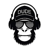 Dude Monkey Headphones Vinyl Decal Sticker   Cars Trucks Vans SUVs Walls Cups Laptops   5.5 Inch   Black   KCD2645B