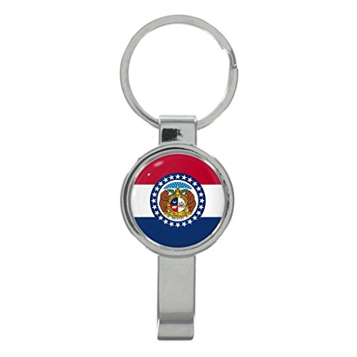 Missouri US State Flag Metal Cap Remover Keyring in Gift Box
