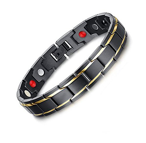 iFun iCool Magnetic Bracelet Magnetic Stainless Steel Mens Gold Black Power Element Bracelet with Magnets