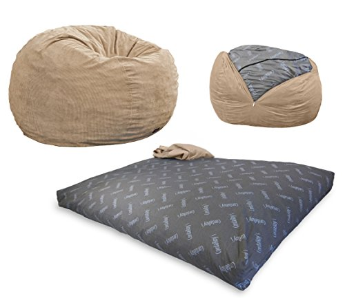 CordaRoy's Bean Bag Chair, Corduroy Convertible Chair Folds from Bean Bag to Bed, As Seen on Shark Tank - Khaki, Queen Size