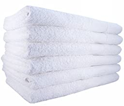 12 NEW Bright White Ringspun Soft 22x44 Bath Towels Gym Salon Tanning Hotel Cleanning Towel