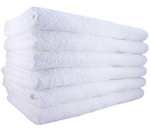 12 NEW Bright White Ringspun Soft 22x44 Bath Towels Gym Salon Tanning Hotel Cleanning Towel by Cleanning Towel
