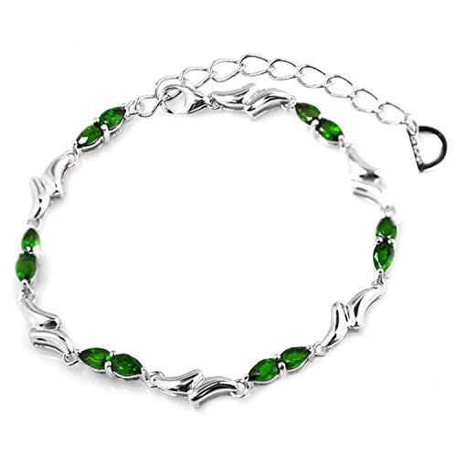De Buman Sterling Silver Chrome Diopside Solid Bracelet, (Diopside Sterling Silver Bracelet)