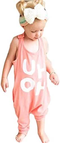 BANGELY Kids Boy Girl Sleeveless Letters Print Romper Harem Pants Jumpsuit Playsuit