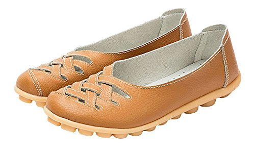 Eagsouni Women's Leather Loafers Moccasins Casual Flat Boat Shoes Cut Out Driving Sandals Tan ugROeo53Hx