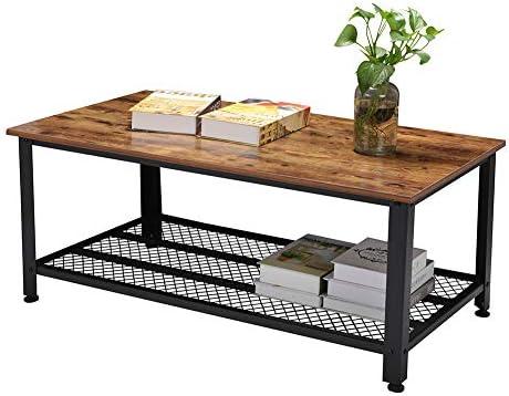 Hot Koop Salontafel, retro woonkamertafel, bijzettafel, houten tafel, koffietafel, MDF + staal, met metalen roosterlaag, voldoende opbergruimte, 106 x 60 x 45 cm  5tLI8KK