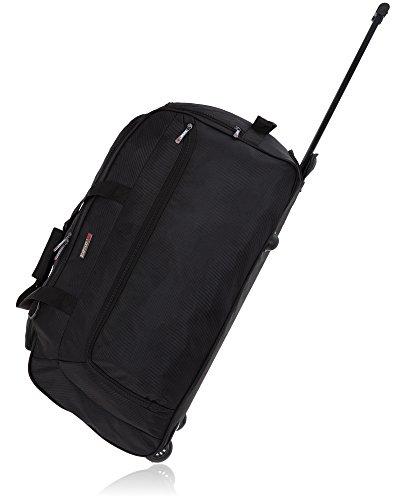 Elephant Trolley Big Black Roller 70 cm XL Reisetasche mit Rollen, separates Nassfach, Schultergurt 5087 + Koffergurt