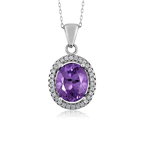 (Sterling Silver Purple Amethyst Women's Pendant Necklace (2.90 cttw, 11X9MM Oval, With 18 Inch Silver Chain))