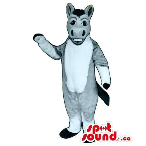 Donkey Teeth (Customised Grey Donkey Mascot SpotSound US With A White Belly Showing Teeth)
