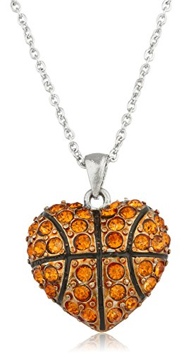 (JOTW Silvertone with Orange Heart Shaped Basketball Pendant with Stones and an 18 Inch Link Necklace)