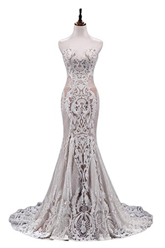 Ruolai Strapless Sweetheart Neck Special Sequined Mermaid Evening Dress Wedding Gowns White-Nude (New Bridal Fitted Wedding Gown)