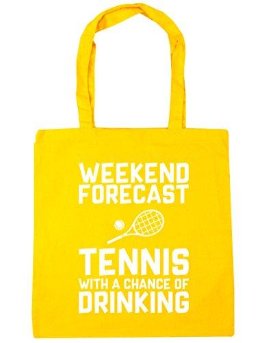 HippoWarehouse Wochenenden Forecast Tennis Mit a Chance of Trinken Einkaufstasche Fitnessstudio Strandtasche 42cm x38cm, 10 liter - Gelb, One size