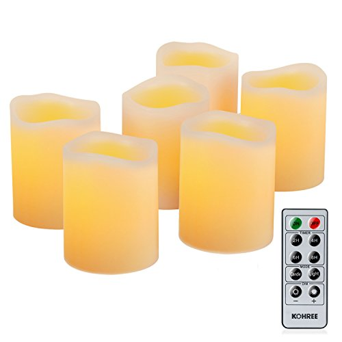 Kohree Real Wax Candle LED Flameless Candle Remote Control Candles Battery Operated Retro Unscented Ivory Votive Pillar Candles Light, Warm White Pack of 6 (Remote Led Controlled Candles)