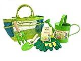 Tierra Garden 7-LP095 Little Pals Kids Garden Kit with Watering Can, Hand Trowel, Hand Fork and Gloves, Green