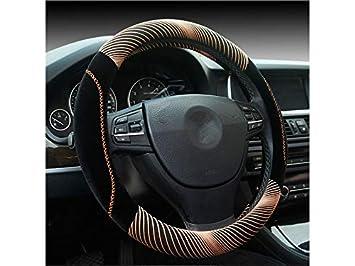 ADream Coprivolante Lussuoso per Auto Comfort Durevole Traspirante Antiscivolo Coprivolante per Auto_ (Nero + Rosso) (Colore : Black Golden, Dimensione : 38cm)