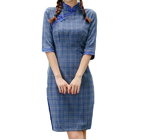 Evening Chinese Comfy Cheongsam Out Cut Women Short Pattern2 Slim Plaid Solid x1Oxq6