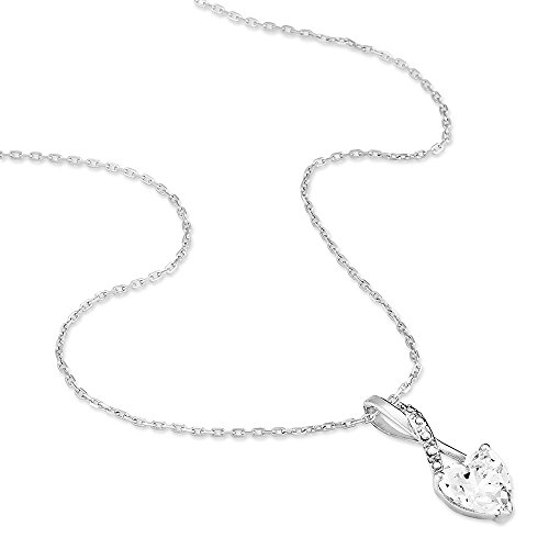 HISTOIRE D'OR - Collier Amoureuse Or Blanc Coeur Oxydes - Femme - Or blanc 375/1000