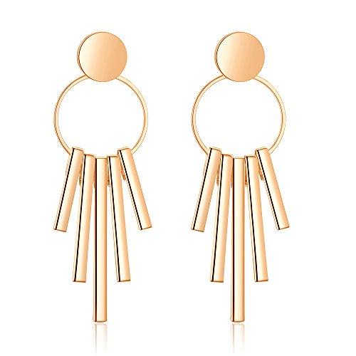 Bonnie Women Dangle Earring Long Tassel Hoop S925 Stud Bohemian Silver Gold Tone Earrings (Gold)