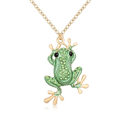 Personalized Green Crystal Frog Necklace Rhinestone Animal Pendant Multi-functions Brooch Pin (Green Crystal Frog)
