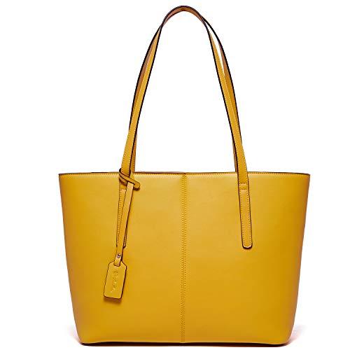 BOSTANTEN Women Handbag Genuine Leather Tote Shoulder Purses Yellow
