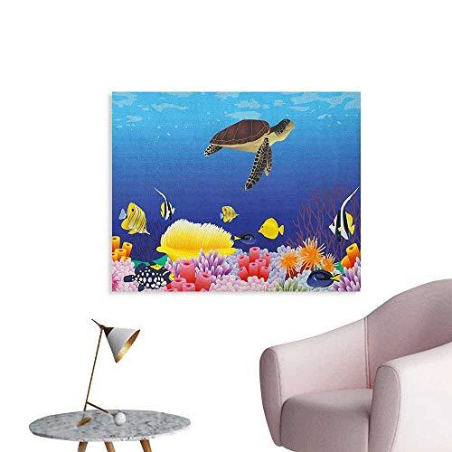 Anzhutwelve Ocean Home Decor Wall Modern Cartoon Deep Sea Nautical Navy Aquarium Fish Turtle Rocks Moss Artwork Print Wall Poster Multicolor W48 xL32
