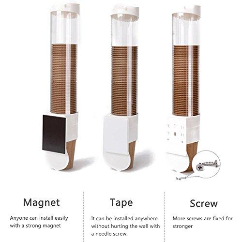 Dispensador de Taza de Agua Dispensador de Plástico Montado en Pared para Tazas de Papel y Vasos de Plástico (Blanco, 50 Tazas): Amazon.es: Hogar