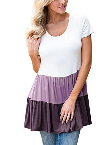 Ermonn Women Color Block Top Short Sleeve Flare T-Shirt Patchwork Ruffle Hem Babydoll (Answer Short Sleeve T-shirt)