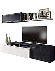 Habitdesign - Mueble de salón Comedor Moderno, Medidas: 200x41/34x43 cm de Alto (Gris Ceniza)