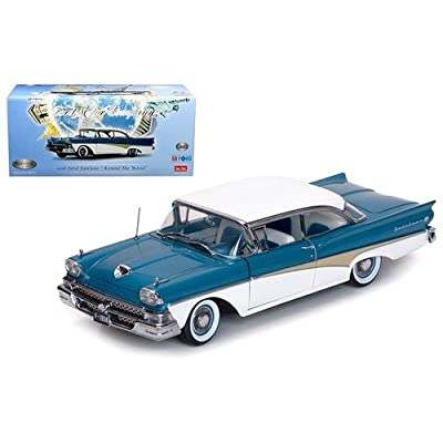 "1958 Ford Fairlane 500 Hard Top ""The Car That Went Around the World"" Colonial White and Silverstone Blue Platinum Series Limited Edition to 999pcs 1/18 Diecast Model Car Sunstar 5283: Toys & Games"