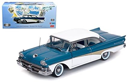 1958 Ford Fairlane 500 Hard Top The Car That Went Around The World Colonial White And Silverstone Blue Platinum Series Limited Edition To 999pcs