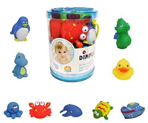 (Set of 20 Floating Bath Toys, Sea Animals Squirter Toys for Boys and Girls, Assorted Sea Animals Friends, Squeeze to Spray! Tons of Fun, Great for Kids & Toddlers by Dimple)