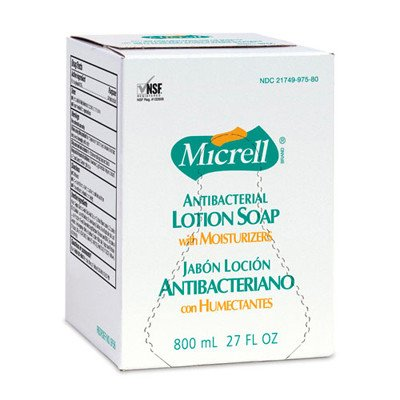MICRELL 800 Series Bag-in-Box Antibacterial Lotion Soap, 800 mL Soap Refill for MICRELL s Bag-in-Box Push-Style Dispenser (Case of 12) - 9757-12
