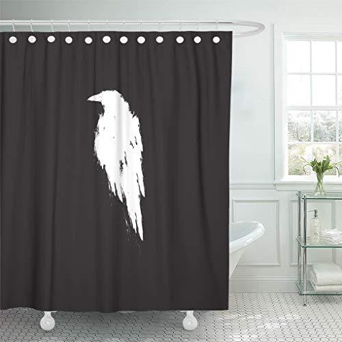 Semtomn Shower Curtain Waterproof Polyester Fabric 66 x 72 inches Animal White Raven Crow Bird Beak Black Cartoon Dark Drawing with Set with Hooks Decorative Bathroom -