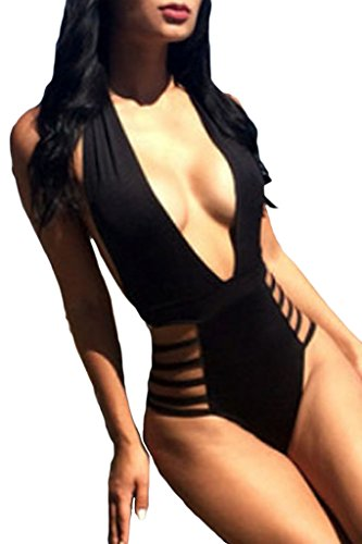 Happy Sailed Women's Modern Plunge Neck Strappy Backless Teddy Swimsuit Medium Size Black