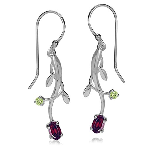 (Silvershake Natural Garnet and Peridot 925 Sterling Silver Vine Leaf Dangle Hook Earrings )