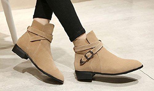 Aisun Womens Élégant Boucle Confortable Sangle Bout Rond Hauts Hauts Bottillons Plats Chaussures Abricot