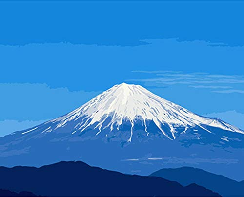 CZHXM DIY Digital Oil Painting by Numbers Drawing Hand Painted Picture Wall Decor pic Japan Mt Fuji Large Volcano Snow Mountain - Volcano Japan Fuji Mt