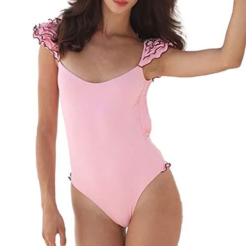 Kulywon Sexy Women Bikini One-Piece Padded Swimwear Ruffle Solid Bathing Beachwear