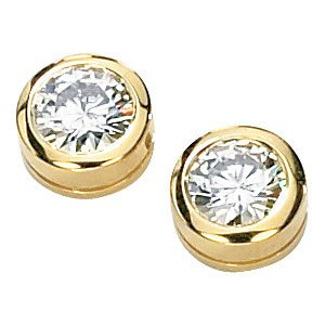 1 Cttw Charles & Colvard 14k Yellow Gold Moissanite Solitaire Stud Earrings by The Men's Jewelry Store