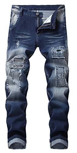 Qazel Vorrlon Men's Biker Moto Distressed Destroyed Fashion Skinny Fit Jeans W36 0930