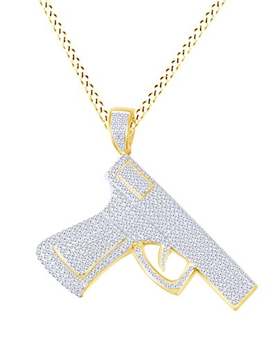 AFFY Handgun Hip Hop Pendant Necklace In 14k Yellow Gold Over Sterling Silver Round Cut White CZ by AFFY
